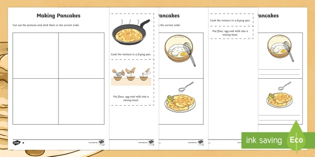 Pancake Day Procedural Writing Differentiated Worksheets