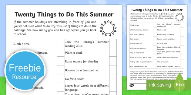 20 Things To Do This Summer Worksheet   Worksheet