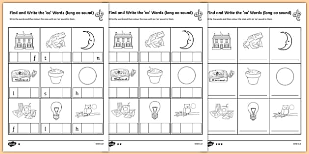 Find And Write The Long Oo Sound Words Differentiated Worksheet