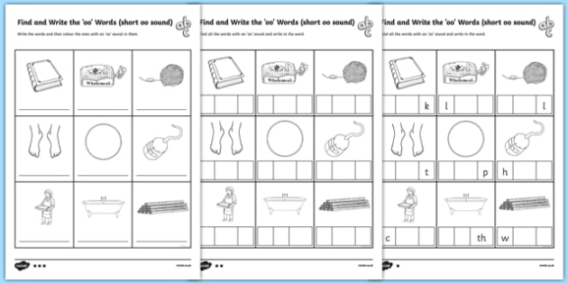 Find And Write The Short Oo Sound Words Differentiated Worksheet