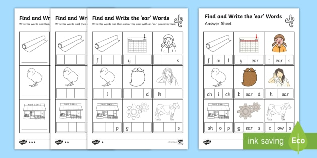 Find And Write The Ear Words Differentiated Worksheet   Worksheet Pack