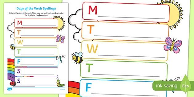 Days Of The Week Spelling Worksheet   Worksheet
