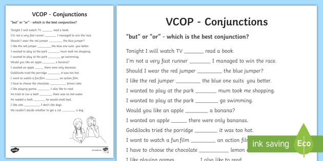 But' And 'or' Conjunctions Worksheet   Worksheet