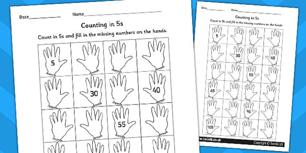 Counting In 5s Hands Worksheet   Worksheet