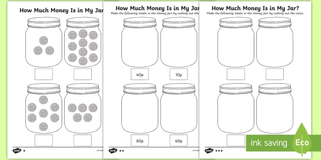 How Much Money Is In My Jar  Counting In 10s Worksheets