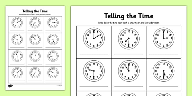 Half Past Time Worksheets