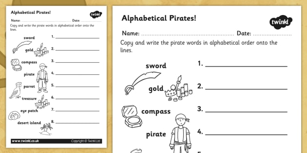 Pirate Alphabet Ordering Worksheet