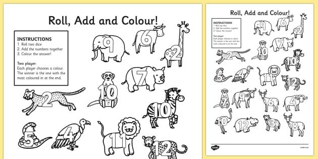 Safari Roll And Colour Worksheet   Worksheets