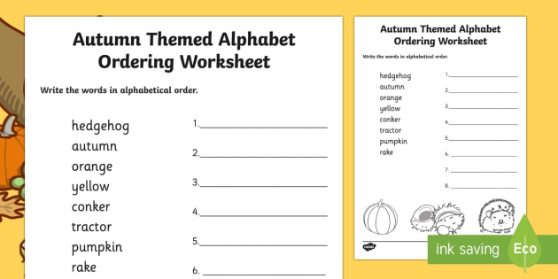 Autumn Themed Alphabet Ordering Worksheet