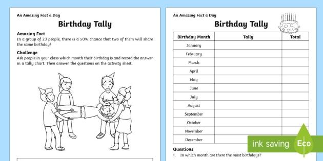 Birthday Tally Worksheet   Worksheet