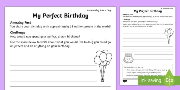 My Perfect Birthday Worksheet   Worksheet