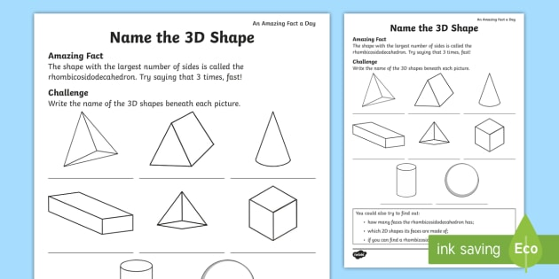 Name The 3d Shape Worksheet   Worksheet