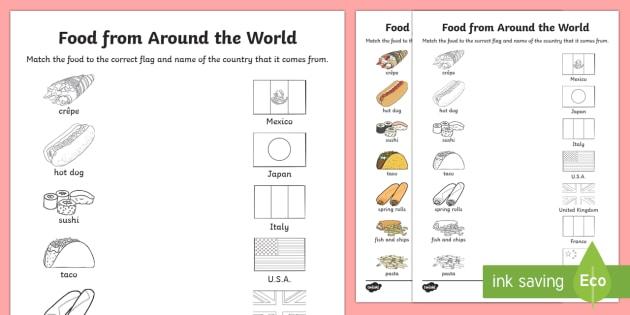 Food From Around The World Matching Worksheet   Worksheet
