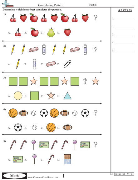 Patterns & Function Machine Worksheets