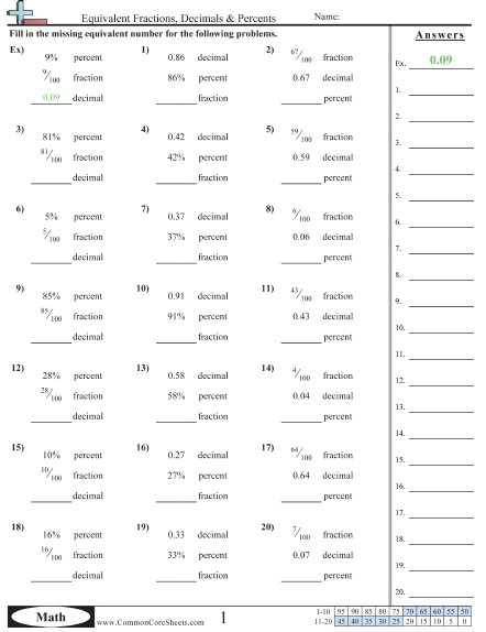 Equivalent Fractions, Decimals & Percents Worksheet