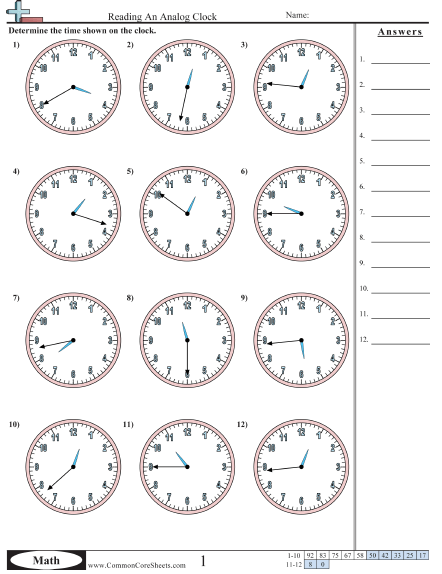 Time Worksheets