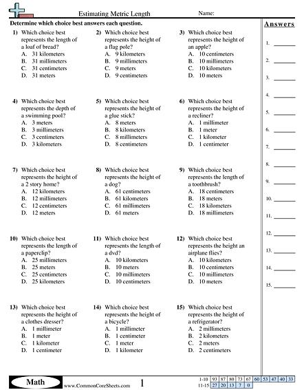 Measurement Worksheets
