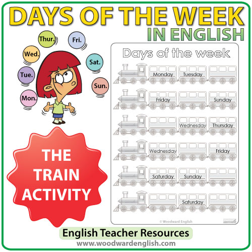 Days In English – Train Worksheets
