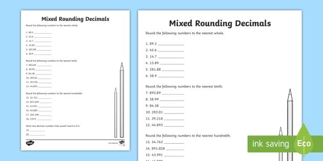 Rounding Decimals Mixed Worksheet   Worksheet