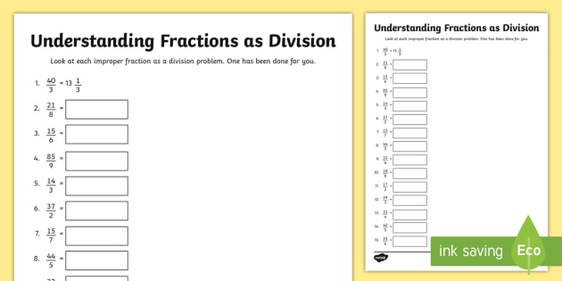 Understanding Fractions As Division Worksheet   Worksheet