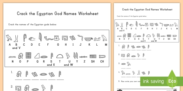 Crack The Hieroglyphs Egyptian God Names Worksheet   Worksheet