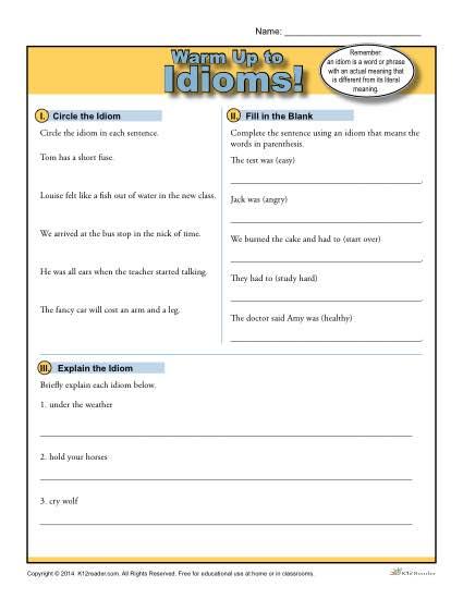 Idioms Warm Up Activity