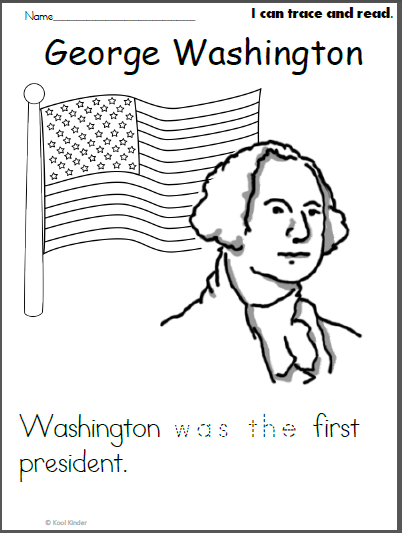 George Washington Color And Read Worksheet