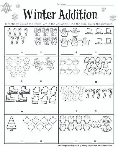 Winter Worksheets Pictures December Kindergarten Math Grade And