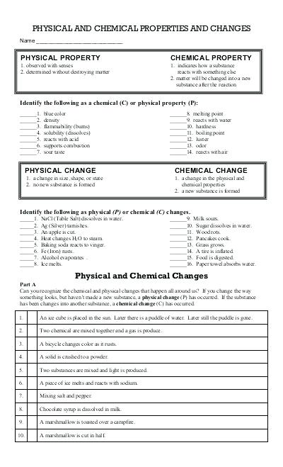 Worksheet 2 Physical Chemical Properties Changes