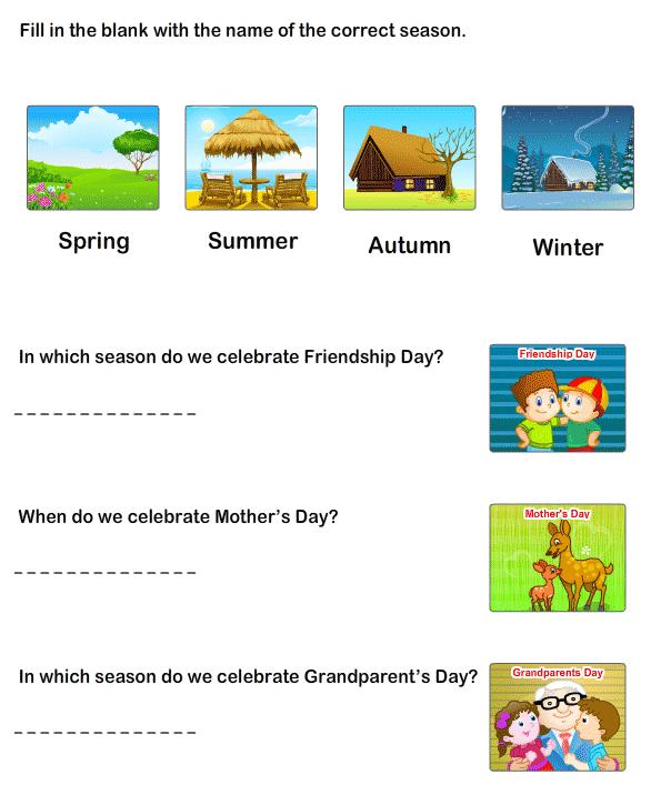 Seasons Worksheets Kids