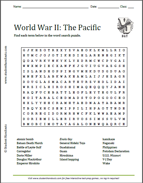 World War Ii In The Pacific Word Search Puzzle