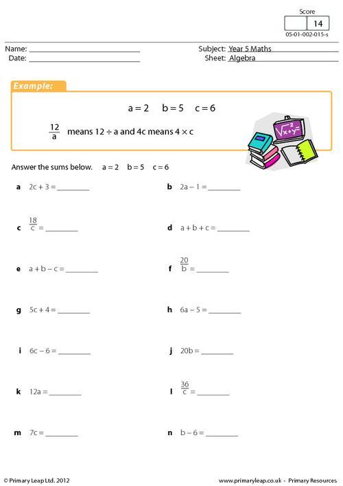 Simple Algebraic Expressions