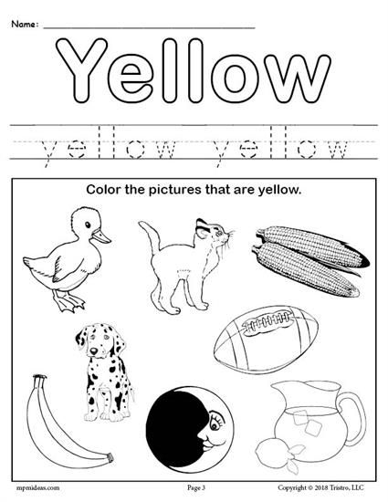 Free Color Yellow Worksheet