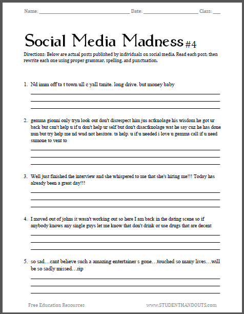 Social Media Madness Worksheet  4