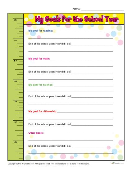 Back To School Goals Worksheet For Elementary School