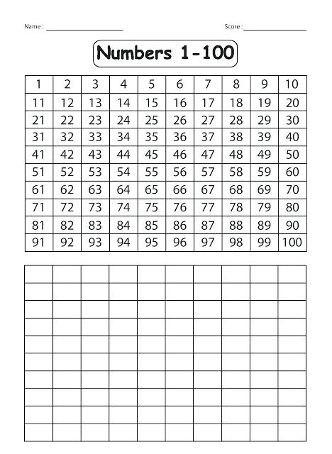 1 100 Worksheets Kindergarten Number Related Numbers For Pdf