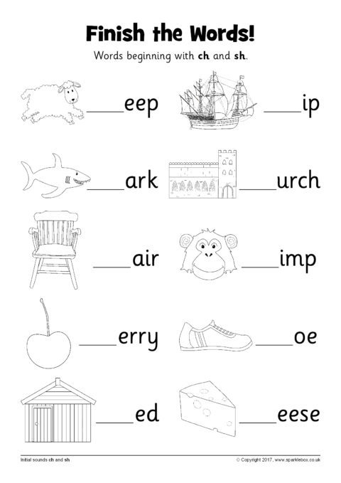 Finish The Words Worksheets – Ch And Sh (sb12226)