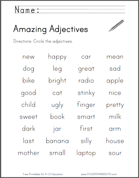 1st Grade Adjective Worksheets To Free Download ⋆ Free Printables