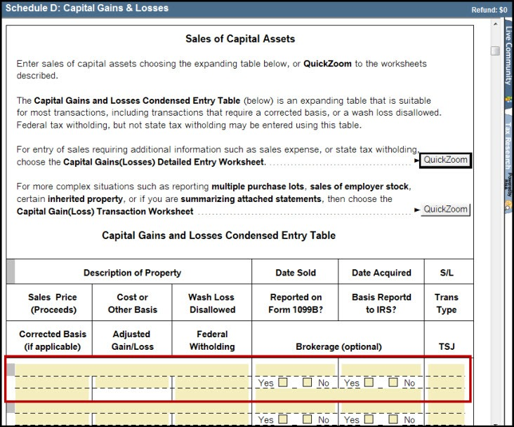 Schedule D Capital Gains And Losses Smart Worksheet