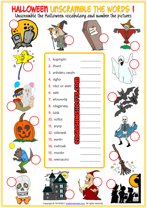 Halloween Unscramble The Words Esl Worksheets For Kids