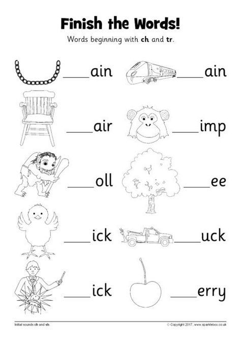 Finish The Words Worksheets – Ch And Tr (sb12228)