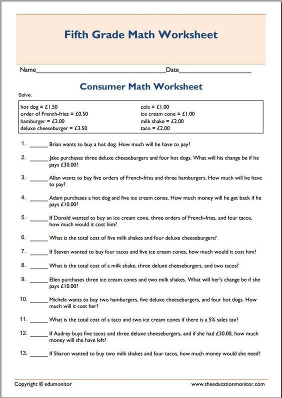 Printables  Consumer Math Worksheets  Lemonlilyfestival Worksheets