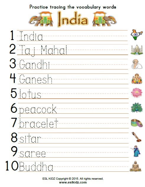 India Worksheets