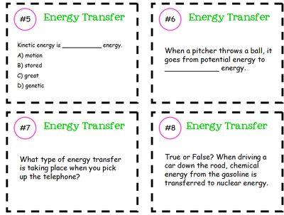 Energy Transfer Task Cards From Klarenays Shop On Teachersnotebook