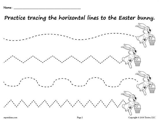 Free Printable Easter Bunny Line Tracing Worksheets