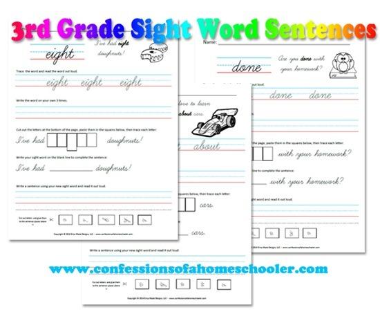 3rd Grade Sight Word Sentences