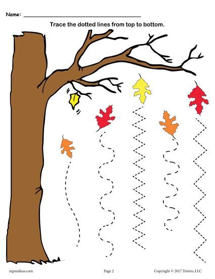 Free Printable Fall Line Tracing Worksheets