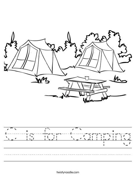 C Is For Camping Worksheet From Twistynoodle Com