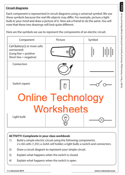Grade 7 Online Technology Worksheets, Circuit Diagram  For More