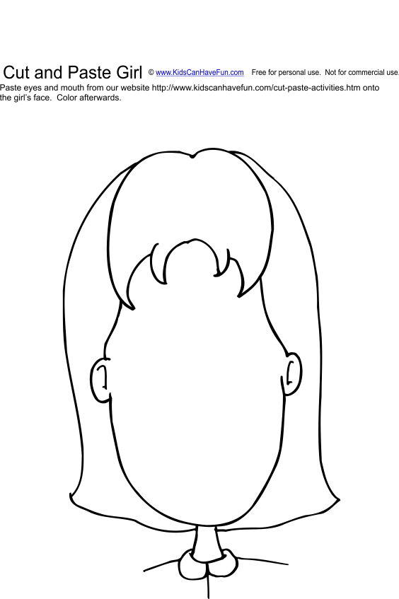 Cut And Paste Girl Face Activity
